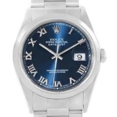 Rolex Datejust 36 Blue Roman Dial Domed Bezel Steel Men's Watch 16200