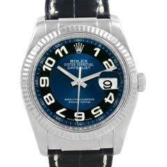 Rolex Datejust 36 White Gold Blue Dial Black Strap Men's Watch 116139