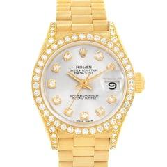Rolex President Crown Yellow Gold Silver Diamond Dial Ladies Watch 69158