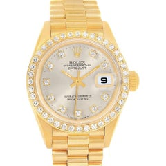 Rolex President Datejust 26 Silver Dial Yellow Gold Diamond Watch 69178