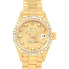 Rolex President Datejust Diamond Dial Bezel 18 Karat Yellow Gold Watch 69178