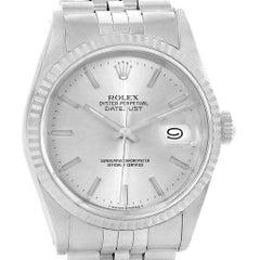 Rolex Datejust Steel White Gold Fluted Bezel Men's Watch 16234