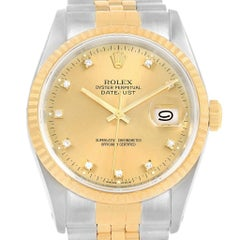 Rolex Datejust Steel 18 Karat Yellow Gold Diamond Men's Watch 16233 Box