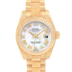 Rolex President Datejust 26 Yellow Gold MOP Dial Ladies Watch 179178