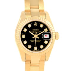Rolex President Datejust Ladies 18 Karat Yellow Gold Diamond Watch 179178