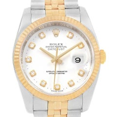 Rolex Datejust Steel Yellow Gold Diamond Men's Watch 116233 Box Papers