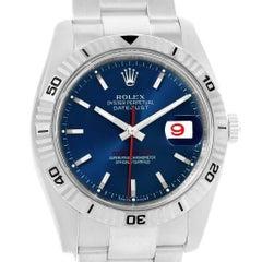 Rolex Datejust Turnograph Blue Dial Steel Men's Watch 116264 Box Card