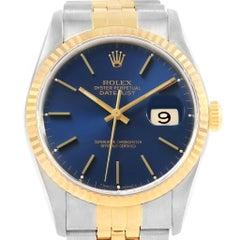 Rolex Datejust 36 Steel Yellow Gold Blue Dial Men's Watch 16233