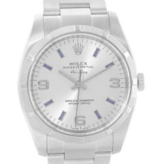 Rolex Oyster Perpetual Air King Silver Dial Blue Markers Watch 114210