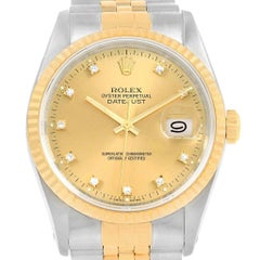 Rolex Datejust 36 Steel Yellow Gold Diamond Dial Men's Watch 16233 Box Papers