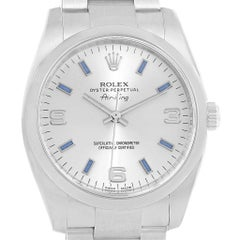 Rolex Air King Silver Dial Blue Index Hour Markers Steel Watch 114200