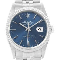 Rolex Datejust Steel White Gold Blue Dial Men's Watch 16234