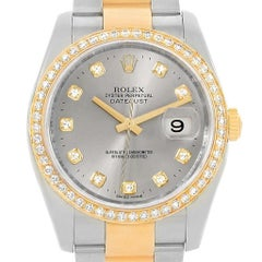 Rolex Datejust Steel Yellow Gold Diamond Dial Bezel Men's Watch 116243