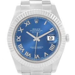 Rolex Datejust II Steel White Gold Blue Roman Dial Watch 116334