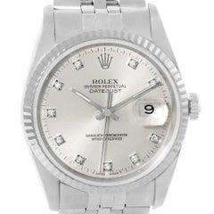 Rolex Datejust Steel White Gold Silver Diamond Dial Men's Watch 16234
