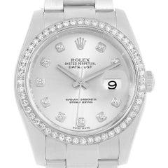 Rolex Datejust 36 Silver Diamond Dial Bezel Unisex Watch 116244 Box Card