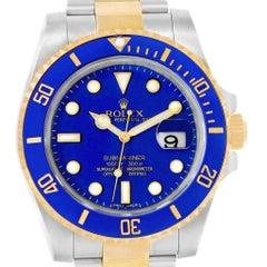 Rolex Submariner Blue Dial Steel Yellow Gold Men's Watch 116613 Box Card