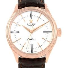 Rolex Cellini Time 18 Karat Eve Rose Gold White Dial Men's Watch 50505