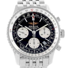 Breitling Navitimer Chronograph Black Dial Steel Watch A23322 Box Papers