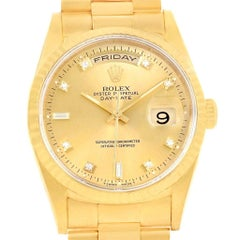 Rolex President Day-Date Yellow Gold Diamond Men's Watch 18238 Box Papers