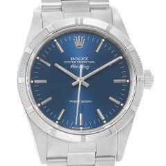 Rolex Air King Blue Baton Dial Stainless Steel Men's Watch 14010