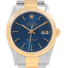 Rolex Datejust 36 Steel Yellow Gold Blue Dial Men's Watch 16203