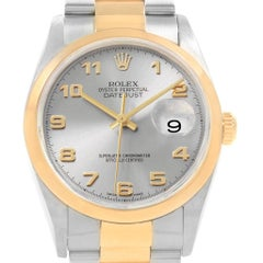 Rolex Datejust 36 Steel Yellow Gold Slate Arabic Dial Men's Watch 16203