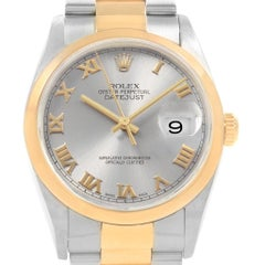 Rolex Datejust 36 Steel Yellow Gold Slate Roman Dial Men's Watch 16203