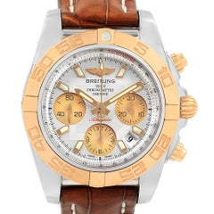 Breitling Chronomat 41 Chrono Steel Rose Gold Silver Dial Watch CB0140