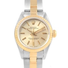Rolex Oyster Perpetual Steel Yellow Gold Silver Dial Ladies Watch 67193