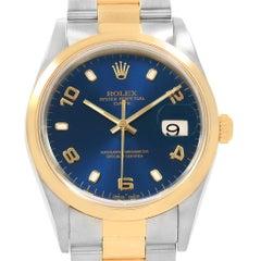 Rolex Date Men's Steel 18 Karat Yellow Gold Blue Dial Men's Watch 15203