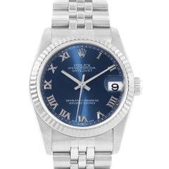 Rolex Datejust Midsize 31 Steel White Gold Blue Dial Ladies Watch 68274