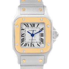Cartier Santos Galbee Steel Yellow Gold Ladies Watch W20057C4 Box Papers