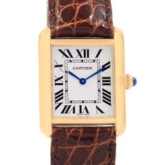Cartier Tank Solo Yellow Gold Steel Ladies Watch W1018755 Box Papers