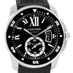 Cartier Calibre Divers Black Dial Rubber Strap Men's Watch W7100056