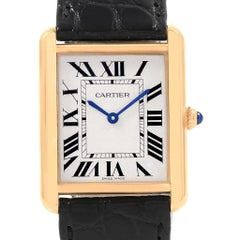 Cartier Tank Solo Yellow Gold Steel Men's Watch W1018855 Box Papers