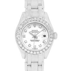 Rolex Pearlmaster Masterpiece 18 Karat White Gold Diamond Ladies Watch 80299