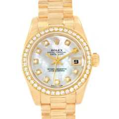 Rolex President Datejust 26 Ladies Yellow Gold MOP Diamonds Watch 79138