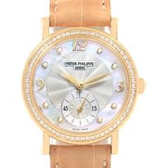 Patek Philippe Calatrava Yellow Gold MOP Diamond Ladies Watch 4959