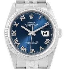 Rolex Datejust 36 Steel White Gold Blue Roman Dial Men's Watch 16234