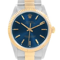 Rolex Oyster Perpetual Steel Yellow Gold Blue Dial Men's Watch 14233