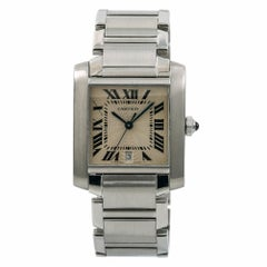 Cartier Tank Francaise 2302 W51002Q3 Men's Quartz Watch Stainless Steel