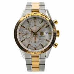 TAG Heuer Carrera CV2050 Men's Automatic Watch Silver Dial Two-Tone SS