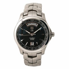TAG Heuer Link WJF2010 Men's Automatic Day-Date Watch Black Dial Stainless