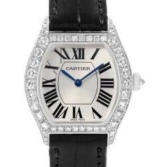 Cartier Tortue 18 Karat White Gold Diamond Ladies Watch WA507231 Box Papers