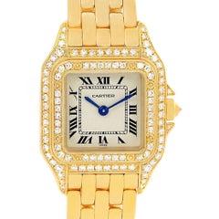 Cartier Panthere 18 Karat Yellow Gold Diamonds Ladies Watch WF3072B9