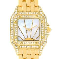 Cartier Panthere Ladies 18 Karat Yellow Gold Diamond Sunrise Dial Watch