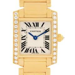 Cartier Tank Francaise Small 18 Karat Yellow Gold Diamond Watch WE1001R8