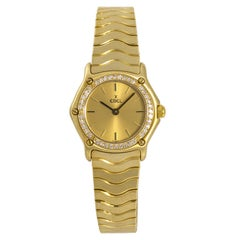 Ebel Classic Sport Wave Women's 18 Karat Yellow Gold Quartz Watch Diamond Bezel
