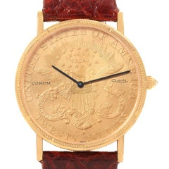 Corum 20 Dollars Double Eagle Yellow Gold Coin Year 1900 Men's Watch Papers